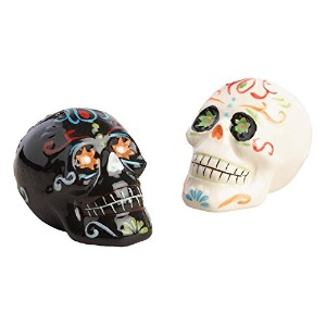 WM Day of the Dead Los Muertos Salt and Pepper Shaker Set、ブラックとホワイト
