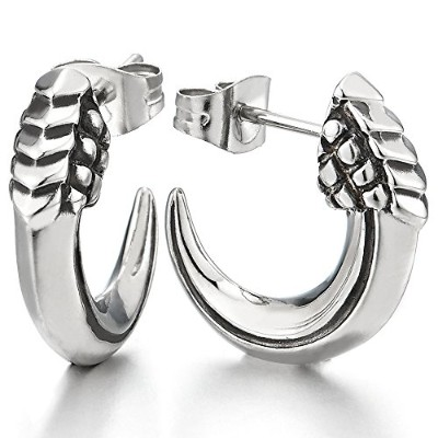 Half Hoop Tail Spike Stud Earrings for Man Women, Stainless Steel, 2 pcs