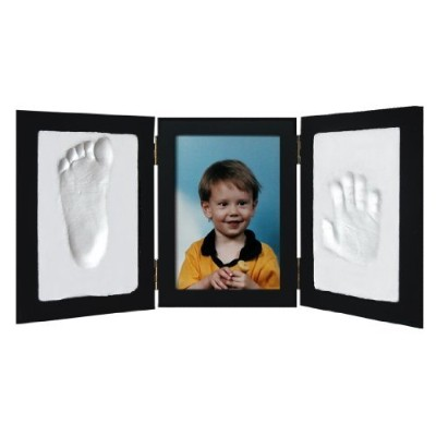 Clay Handprint & Footprint Keepsake Photo Desktop Frame - Black by Casting Keepsakes [並行輸入品]