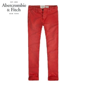 【15%OFFセール 4/21 10:00~4/24 09:59】 アバクロ Abercrombie&Fitch 正規品 メンズ スキニーチノパン A&F SKINNY CHINOS RED