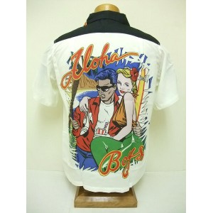 "SUN SURF[サンサーフ] アロハシャツ KEONI OF HAWAII ""ALOHA BOYS"" (OFF WHITE)"