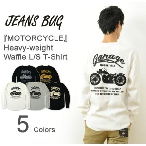 (HWFロンT)『MOTORCYCLE』 JEANSBUG ORIGINAL Heavy Waffle Long Sleeves Tシャツ オリジナル バイカー プリント ヘビー ワッフル 長袖...