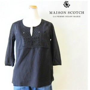■■■30%OFF■■■レディースMAISON SCOTCH【メゾソスコッチ】refined embroid tunic top胸刺繍・7分袖スモックTeecolor:90【BLACK】ブラック
