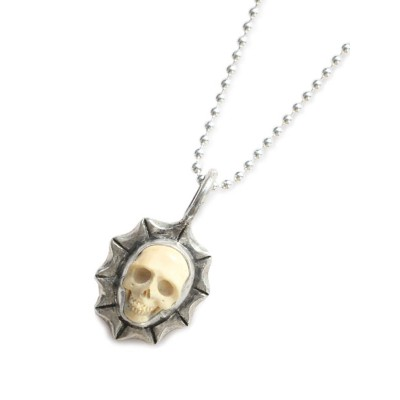 Lee Downey(リーダウニー)Tiny Skull Necklace (Large Waves) - Mammoth Ivory / スカル ネックレス ペンダント マンモス 化石 シルバー...
