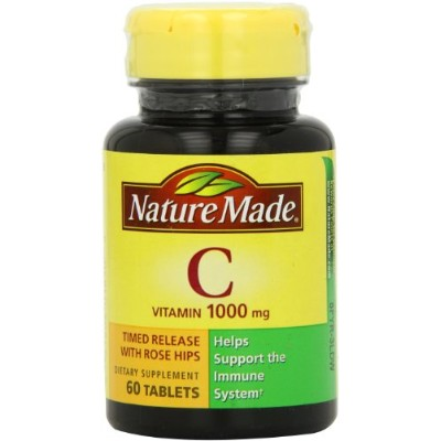 Nature Made Vitamin C 1000mg Timed Release with Rose Hips , 60 Tablets 海外直送品