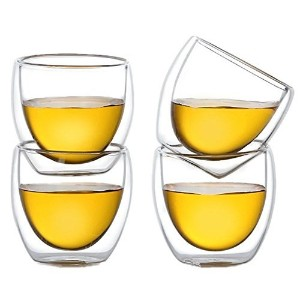 Moyishi Double Walled Clear Glass Espresso Wine Cup (Set of 6) 80ml [並行輸入品]