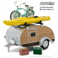 1/24 Hitch & Tow Trailers 3 - Teardrop Trailer with Roof Rack,Bicycle,Kayak,Cooler and Picnic...