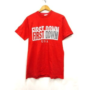FIRST DOWN Tシャツ ロゴ プリント 半袖 カットソー 赤 M ※OA ☆☆ メンズ 【ベクトル 古着】【中古】 160901