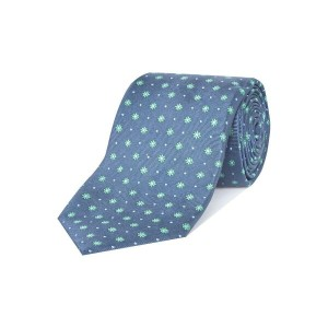 チェスター バリー メンズ ネクタイ【Rushmore Silk Tie With Spots And Flowers】navy