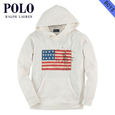 【35%OFFセール 8/17 10:00~8/23 9:59】 ポロ ラルフローレン キッズ POLO RALPH LAUREN CHILDREN 正規品 子供服 ボーイズ パーカー Flag Pullover Hoodie #22357906 WHITE