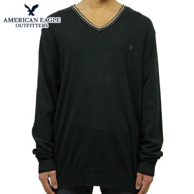 【35%OFFセール 8/17 10:00~8/23 9:59】 アメリカンイーグル AMERICAN EAGLE 正規品 メンズ Vネックセーター AE TIPPED V-NECK SWEATER 1144-9792 GREEN