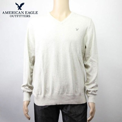 【35%OFFセール 7/14 20:00~7/21 1:59】 アメリカンイーグル AMERICAN EAGLE 正規品 メンズ Vネックセーター AE TIPPED V-NECK SWEATER 1144-9773 LIGHT GREY