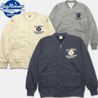 """BUZZ RICKSON'S(バズリクソン)セットインフルジップスゥエット【BR65601 SET-IN ZIP SWEAT """"U.S. ARMY AIR FORCE""""】"""