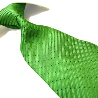 紳士ネクタイ100%ポリエステル Fashion Tie,Microfibre Green Striped Polyester Men's Necktie
