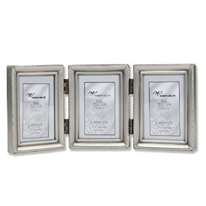 Lawrence Frames Antique Pewter Hinged Triple 2x3 Picture Frame - Beaded Edge Design by Lawrence...
