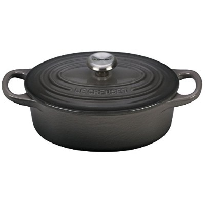 Le Creuset Signature Enameled cast-iron 1-quart Oval (オランダ) Frenchオーブン、オイスター