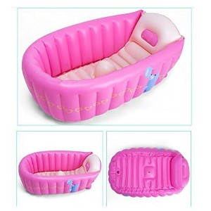 Ecity Portable Inflatable Tub Infant-to-Toddler Inflatable Bath Tub Mini Swim Pool(Pink) by Ecity