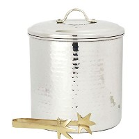 Old Dutch International Hammered Ice Bucket with Liner and Tongs, 3-Quart, Stainless Steel by Old...