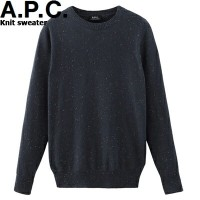 A.P.C. HOMME Knit sweater Blue Grey h23405アーペーセー ニット セーター クルーネック ブルー グレー イタリア Donegal wool APC メンズ...