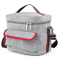 FUNJIA- Double-Decked Insulation Lunch Bag With Felt + Foil, Zip Closure, For Women, Men, Adults,...