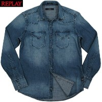 REPLAY/リプレイ M4860M WESTERN STYLE DENIM SHIRT with two breast flap pockets & three-button cuffs...