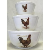 Mixing Nesting Bowls Set of 3–アメリカ製–Mosser USA–ミルクガラスW / CHICKENS NEW HAMPSHIREレッドRoosters