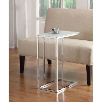 Coaster 900250 Contemporary Snack Table with Glass Top, Silver [並行輸入品]