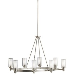 Kichler Lighting Circolo 8-light Oval島クリアガラス円柱とシャンデリア 25 in. W x 35.5 in. D x 27 in. H 2345NI 1