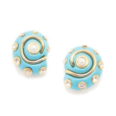 Faux Resin Turquoise Snail Shell Clip On Earrings with Pearls & Crystals