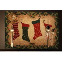 Tache 4Piece Festive Christmas Holiday Hang Myストッキングby the fireplaceタペストリープレースマットセット