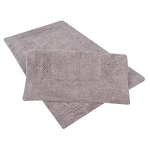 Set of 2 Large 21 x 34 Inches 100% Cotton Tuffted Bath Rugs With ANTI SKID LATEX BACKING (Stone) by TrendSetter Homez
