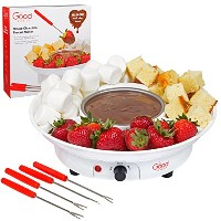 Chocolate Fondue maker- Deluxe ElectricデザートFountain Fonduポットセットwith 4 Forks and Serving Tray