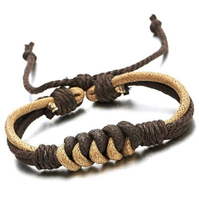 Hand-made Mens Women Braided Cotton Rope Bracelet Brown Wrap Bracelet Wristband, Adjustable