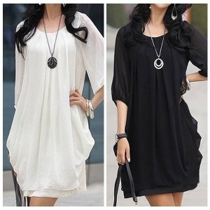 Sale! Women s Chiffon Casual Scoopneck Party Club Mini Dress T-shirt Blouse