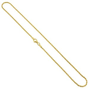 "Gem Avenue 14 K Gold over 925スターリング1.5 MMロープチェーンブレスレットシルバーメッキwith Lobster Clasp (7 "" – 8 ""使用可能)"