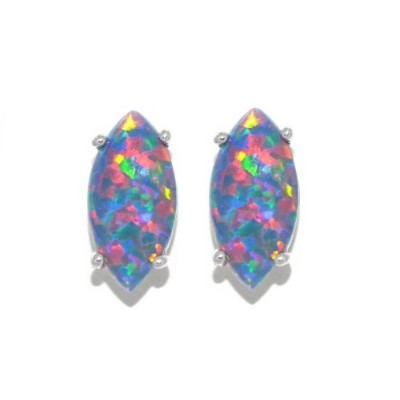 Simulated Black Opal Marquise Stud Earrings .925 Sterling Silver Rhodium Finish
