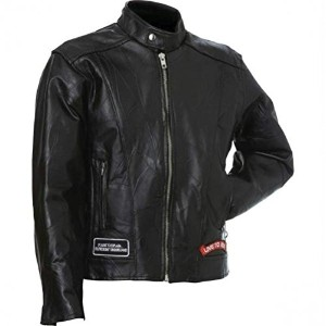 Diamond Plate Leather Motorcycle Jacket-S
