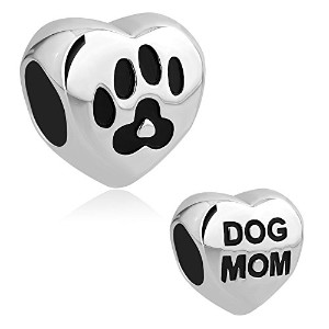 queencharmsハート型チャームDog Mom Love With Paw Printビーズのブレスレット