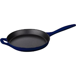 "La Cuisine LC 7500 Cast Iron Skillet with Integrated鋳鉄ハンドルとエナメル仕上げ 10"" ブルー LC 7570"