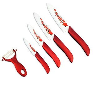 kinghome premium-8pcs-ceramic Knife Set with Crafted抗菌竹handles-magneticギフトbox-white sheaths...