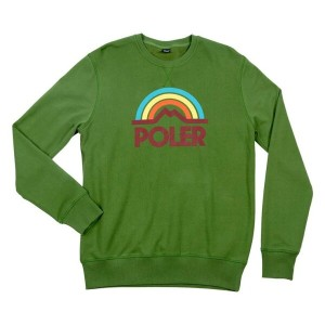 Poler Mountain Rainbow Crewneck Sweatshirt Grass M