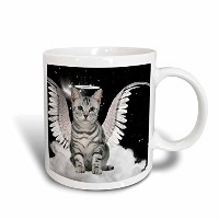 3dローズDoreen Erhardt Cats–Gray Tabby Cat Angel Sitting on a Cloud with a cute Halo and Angel Wings...