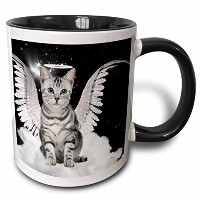 3drose 3drose Gray Tabby Cat Angel Sitting on a Cloud with a cute Halo and Angel Wings–2トーンブラック...