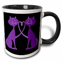 3dローズAnne Marie Baugh Love Designs–2つキュートパープルCats in Love on a Black Background–マグカップ 11 oz...