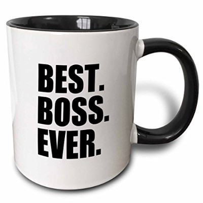 (330ml) - 3dRose Best Boss Ever Fun Funny Humorous Gifts for The Boss Work Office Humour Black Text...