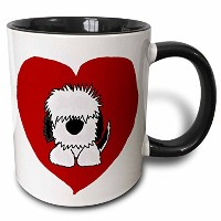 3drose All Smilesアート犬 – FunホワイトOld English Sheepdog Puppy Dog and赤Heart Love – マグカップ 11 oz ホワイト mug...