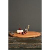 Bamboo Cutting Board with Zinc Squirrel and Acorn Toothpick holder by Creative Co-op