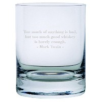 Mark Twain Quote Etched 11オンスStolzle New YorkクリスタルRocksガラス