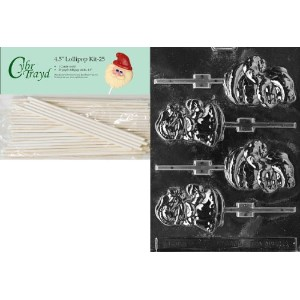 Cybrtrayd 00045st25-c032Mr。and Mrs Claus Lolliesクリスマスチョコレート/キャンディ金型with 254.5-inch Lollipop Sticks