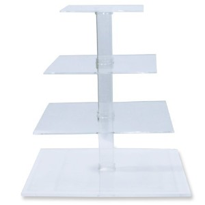 4-Tier Stacked Party Cupcake and Dessert Tower - Clear Acrylic Cake Stand (Square) - BY OFEH by...